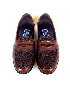 BRAGANO-Shoes-LEATHER-Brown-COLE-HAAN-Slip-On-ITALY-Penny-LOAFERS-Mens-8-M