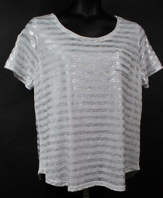 Lane Bryant Plus Size Silver Metallic/White Stripe Tee Shirt 18/20 or 22/24 Lane Bryant Plus Size