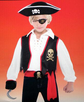 Piraten Karneval Jungenkostüm Set Fasching Weste, Augenklappe, Haken, Gürtel ()