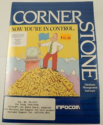 """Cornerstone Database by Infocom for Tandy 1000/3000 5.25"""" Disks Shrink Wrap #AE"""