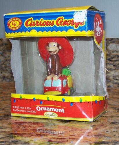 Vintage 2007 Curious George Christmas Tree Ornament, Universal Studios Brass Key