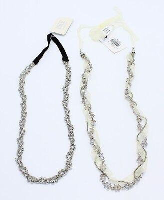 Two New Rhinestone Lace Stretchable Headbands by Buckle NWT #H2022-H2024 (Bulk Headbands)