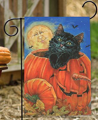 Toland Meow-Lo-Ween 12.5 x 18 Full Moon Pumpkin Kitty Cat Halloween Garden Flag