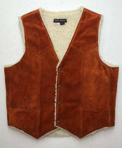 PR231 Vtg USA STEER BRAND Orange Suede Leather Sherpa Lined Western Vest sz L