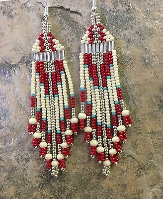 "Native American Style 3"" Bone Red Turquoise Beaded Earrings"