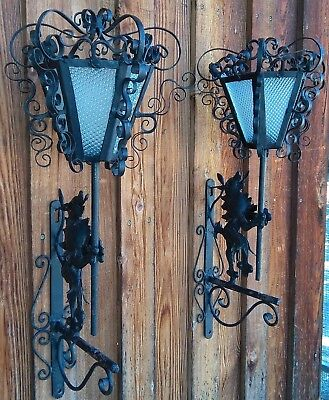 Antique Hanging Black Wall Sconces,Roaring Lion,Matching Pair **Mid-Evil Style** Antique Style Wall Sconces