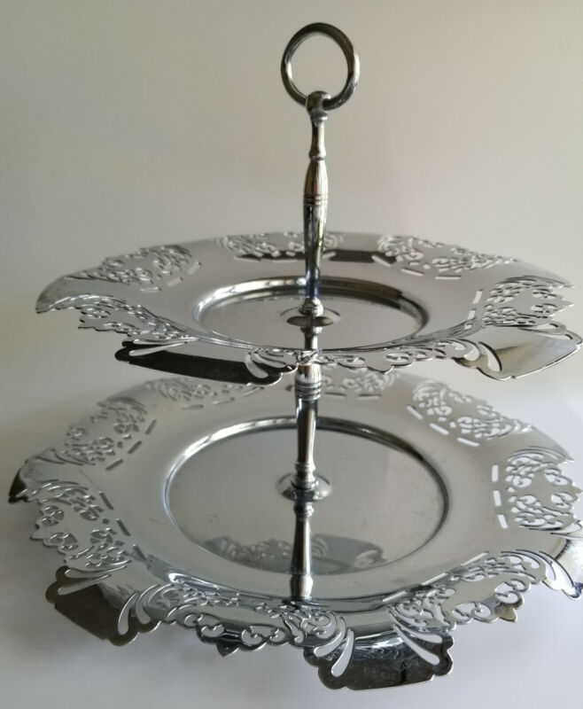 Vintage Farber Bros Krome Kraft 2 Two Tier Pastry Tray Chrome Art Metal-ware
