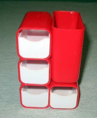 Vintage 70s Hof Red Plastic 4 Drawer Office Desk Supplies Organizer Retro