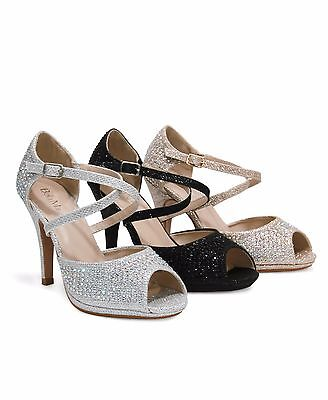 Women's Peep-Toe Crisscross Ankle Strap Embellished Evening Sandals Shania-1