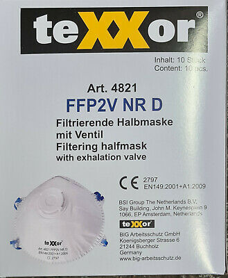 Texxor FFP2V NR D - Masken mit Ventil UND ZULASSUNG, Art.-Nr. 4821 - 10er Pack