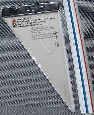 2x MARABU MX 616 Dreieck aus Makrolon mit Tuschkante 30-60-90° 200 mm Geodreieck