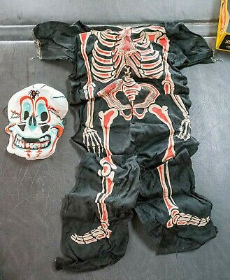Vintage Collegeville Halloween Costume - Glow in the Dark Skeleton Ben Cooper