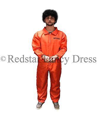 MENS ORANGE PRISONER COSTUME & HANDCUFFS FANCY DRESS CONVICT JUMPSUIT STAG - Convict Costume