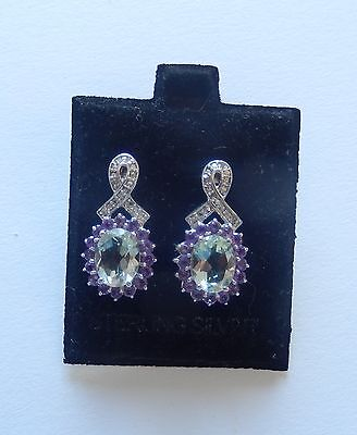 Sterling Silver Earrings (925) -Amethyst-Green & Purple-Small diamonds bow oval