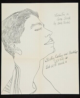 2 PM19B 1956 Andy Warhol Original Bodley Gallery Announcement Studies for a Boy