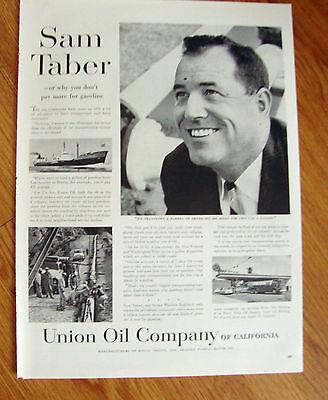 1957  Union Oil 76 Ad  Sam Taber