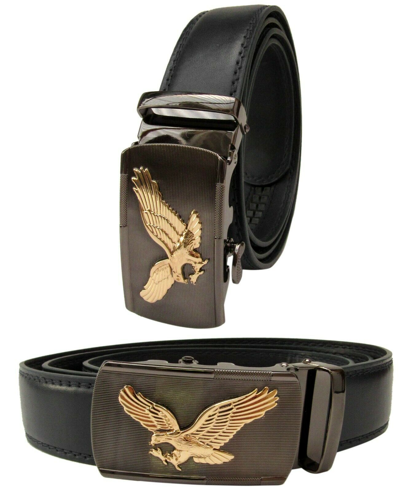 Men Black Genuine Leather Automatic Ratchet Click Lock Buckle Belt Gold Eagle Belts