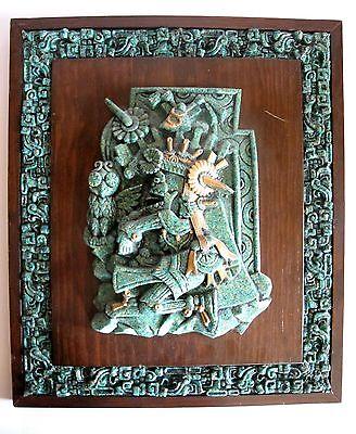 RAR Maya Azteken Skulptur Mexiko aus Malachit Split hergestellt auf Holzbrett