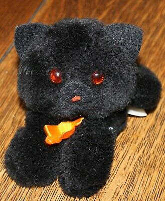 Vintage Hallmark Halloween Black Cat or Kitten Black Plush 1983 Orange Bow