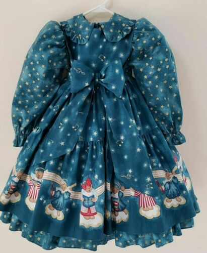 Vintage Rare Daisy Kingdom Teddy Angels Dress Pinafore 2 piece Christmas NEW Sz4