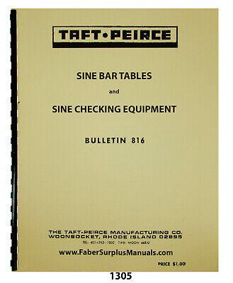 Taft-peirce Sine Bar Tables Sine Checking Equipment Manual 1305