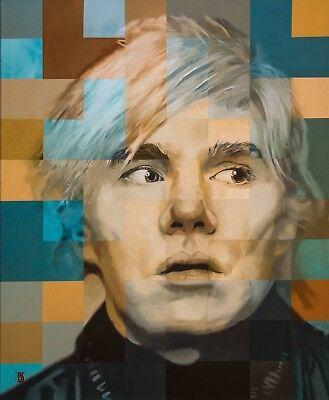 Metal Print of an original painting of Andy Warhol by Bill George