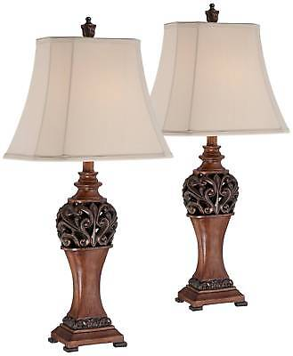 """Wood Finish Table Lamps - Set Of 2, Carved Leaf Detailing 30"""" High - Lamps Plus"""