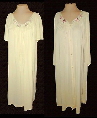 vintage, 2-PC: Robe & Night Gown, Shadowline, yellow Embroidery, 1X