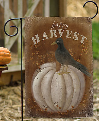 Toland Happy Harvest 12.5 x 18 Rustic Fall Autumn Pumpkin Bird Garden Flag