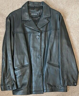 GUESS Black Leather Jacket Long Coat Mens Large