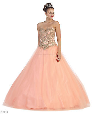 MILITARY BALL GOWN SWEET 16 DEBUTANTE MASQUERADE QUINCEANERA DESIGNER PROM DRESS