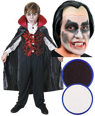 Boys Girls Kids Dracula Vampire Halloween Fancy Dress Costume Wig Face Paint