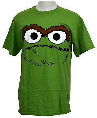 Oscar the Grouch Face T-shirt Sesame Street Graphic Tee Green Cotton NWT