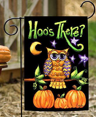 Toland Hoo's There? 12.5 x 18 Double Sided Owl Pumpkin Halloween Garden Flag