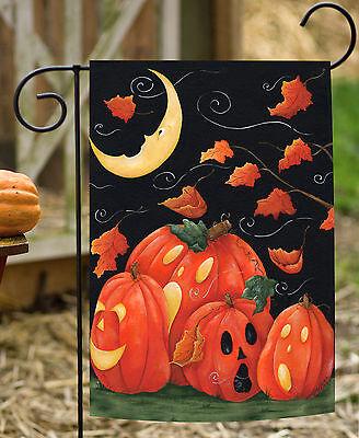 Toland Scary Night 12.5 x 18 Spooky Halloween Fall Autumn Leaves Garden Flag