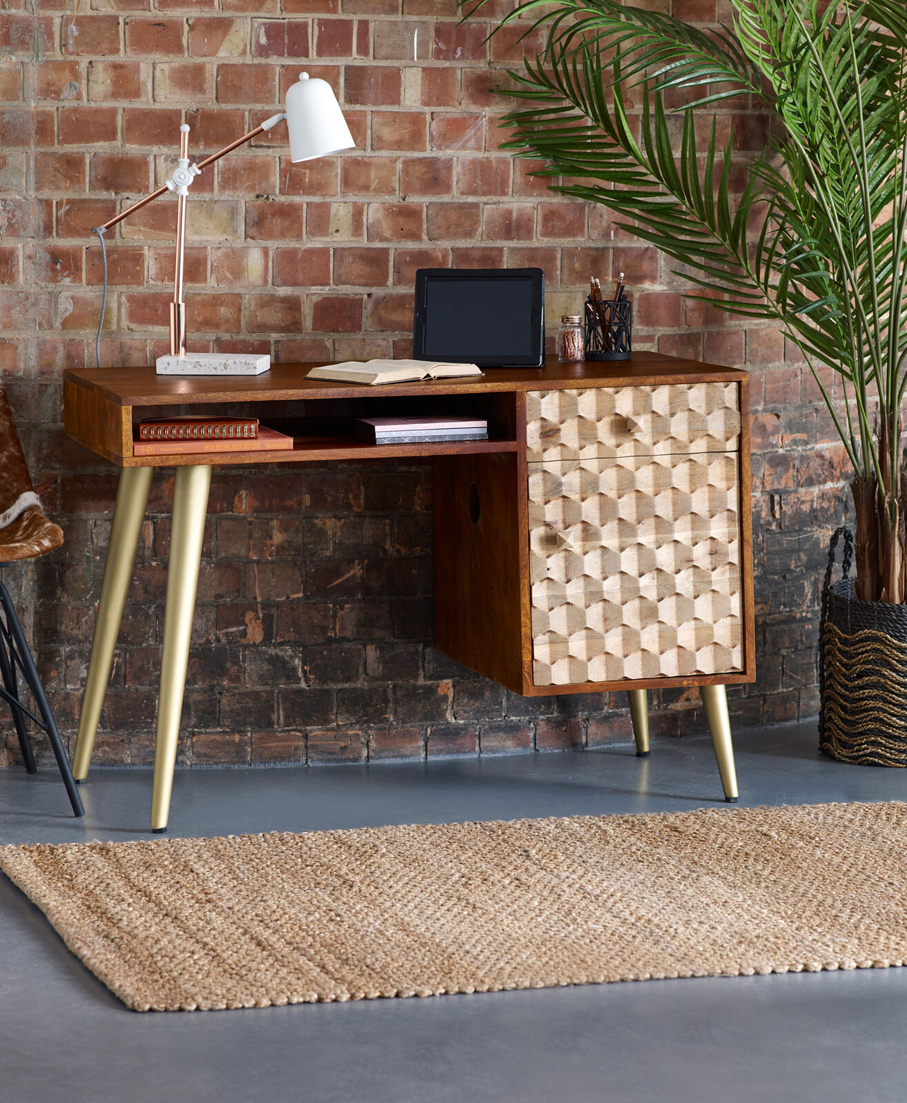 Details about Edison Office Desk With Drawers Walnut Gold Solid Mango Wood Retro Scandi Style