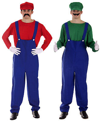 Mario And Luigi Couple Costume (Mario and Luigi Bros 80s Fancy Dress Plumber Workman Couples Costume)