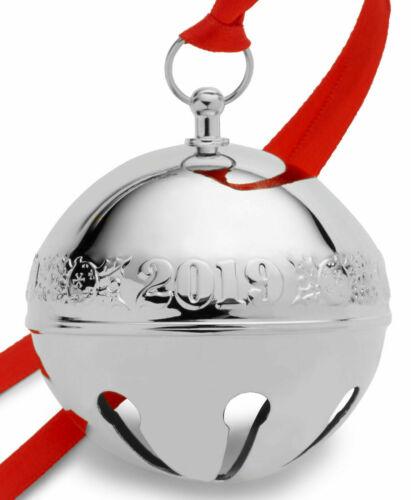 Wallace 2019 Silver-Plate Sleigh Bell-49th Edition (Holly & Ornaments) NEW