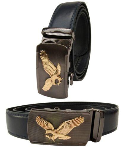Men Gold Eagle Buckle Navy Genuine Leather Belt Automatic Ratchet Click Lock
