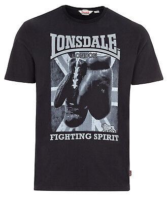 (Lonsdale Boxing Fighting Spirit Premium Black Regular-Fit T-Shirt 100% Cotton)