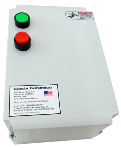 Elimia DOL 34-50-230LCLS 15 HP 230V Magnetic Motor Starter Nema Rated 4X UL508A