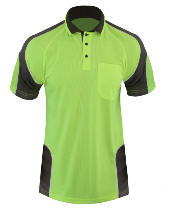 3x HI VIS POLO Shirts WORK WEAR COOL DRY SHORT SLEEVE HIVIS ARM PIPING PANEL