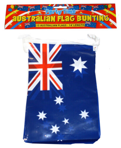 BUNTING AUSTRALIAN AUSTRALIA OZZIE BUNTING - 11 FLAG BUNTING 12 FT LONG  F30585