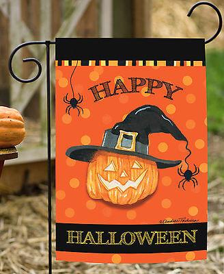 Toland Witch Pumpkin 12.5 x 18 Happy Halloween Spider Garden