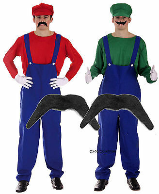 Mario and Luigi Bros 80s Fancy Dress Plumber Workman Costume with 2 x Moustache