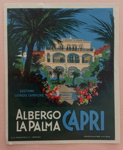Luggage Label Albergo La Palma, Capri - Italy (Richter)