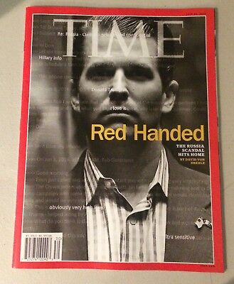 TIME Magazine Mag Red Handed Russia Donald Trump Jr  No Mailing Label