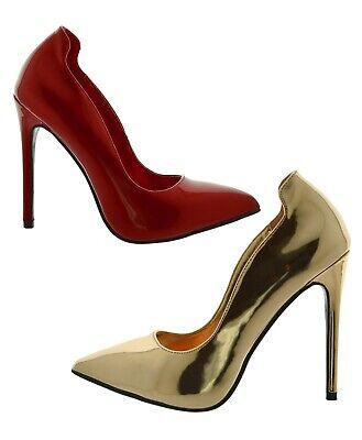 decoltè donna eleganti Scarpe con tacchi alti spillo rossa vernice oro lucide