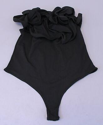Boohoo Women's Plus Melanie Double Ruffle Bodysuit LL1 Black Size US:16 UK:20