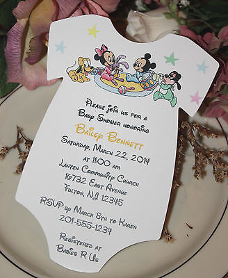 Set of 10 Baby Mickey Mouse & Baby Minnie Mouse & Friends Baby Shower Invitation